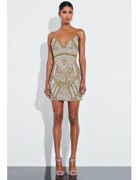 Peace + Love Gold Embellished V Front Cami Mini Dress by Missguided