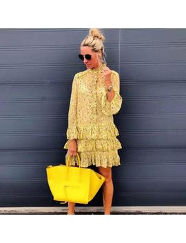 2019 Autumn New Arrive Yellow Floral Print Mini Dress Floral Sleeve Sweet Ruffles Women Dress Beach Holiday Dresses by Ali Express.Com