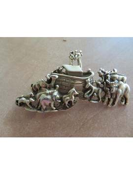 Vintage Signed Ajc Noah's Ark With Animals Sturdy Goldtone Bible Story by Etsy