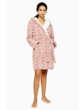 Blush Pink Swirl Textured Dressing Gown by Topshop