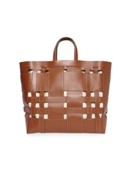 Large Foster Woven Leather Tote by Burberry
