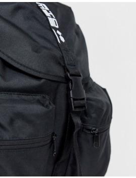 Asos Design – Schwarzer Rucksack Mit Zwei Vordertaschen Und Slogan Auf Dem Träger by Asos