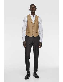 Buttoned Textured Waistcoat by Zara