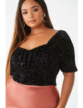 Plus Size Leopard Print Crop Top by Forever 21