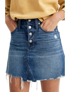 Button Front Edition: Rigid Denim A Line Miniskirt by Madewell