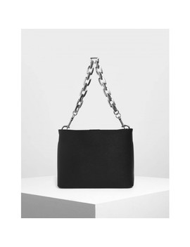 Chunky Chain Handle Bucket Bag by Charles & Keith