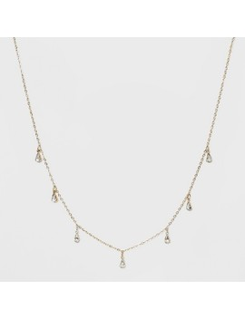 Crystal Acrylic Stone, Short Delicate Charm Drop Necklace   Wild Fable™ Bright Gold by Wild Fable