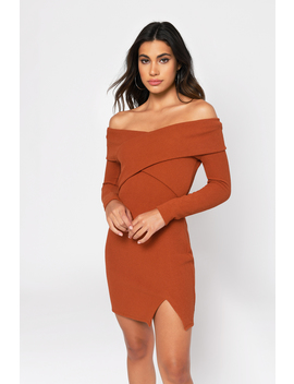 Catherine Rust Off Shoulder Bodycon Dress by Tobi