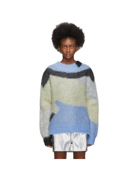 Blue Mohair Crewneck Sweater by Ambush