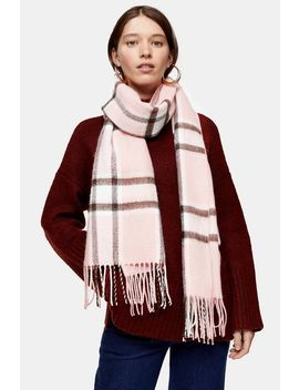 Pink Lightweight Check Scarf by Topshop