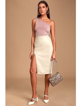 Mireya Beige Vegan Leather Pencil Skirt by Lulus