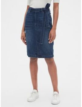 High Rise Denim Pencil Skirt With Tie Belt by Gap