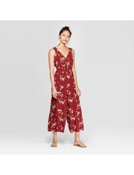 Women's Floral Print Sleeveless V Neck Smocked Waist Button Front Jumpsuit   Xhilaration™ Pomegranate by Xhilaration
