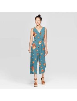 Women's Floral Print Sleeveless V Neck Side Button Jumpsuit   Xhilaration™ Blue by Xhilaration
