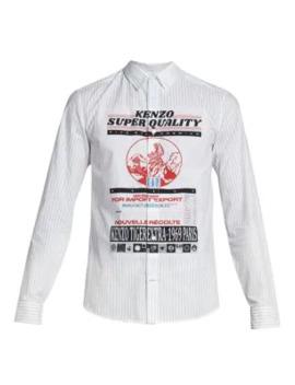 Slim Fit Artwork Cotton Shirt by Kenzo