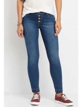 Denim Flex™ Medium Button Fly Wide Hem Jegging by Maurices