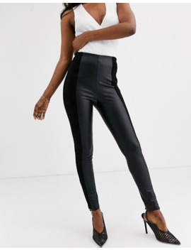Stradivarius Faux Leather & Suede Legging In Black by Stradivarius'
