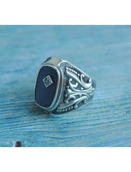 Vintage Sowjetischen Russischen 875 Silber Herren Ring Mit Onyx Und Farblosen Edelstein. by Etsy