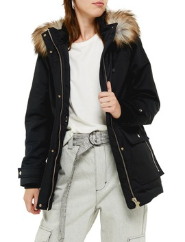 Tilly Hooded Parka With Faux Fur Trim by Topshop