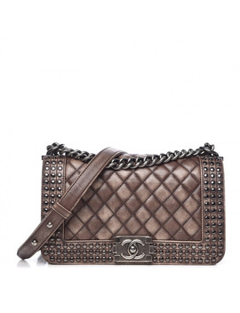 Chanel Faded Calfskin Quilted Medium Studded Boy Flap Beige by Chanel