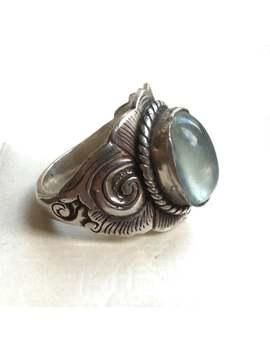 Hervorragende Gepunzte Vintage Signiert Suarti Ba 10g Solide Sterling Silber Lünette Set Aqua Grün Aquamarin Edelstein Ring Größe Uk U   Us 10 by Etsy