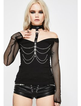 Fishnet Sleeve Chain Harness Top by Devil Fashion
