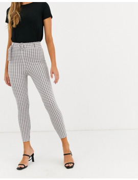 Asos Design Micro Check Skinny Trouser With Self Covered Belt by Asos Design