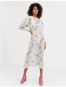Never Fully Dressed Long Shirred Sleeve Midi Dress In Contrast Cream Polka Dot by Never Fully Dressed