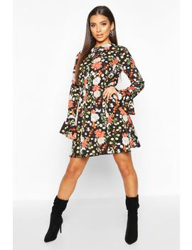 Floral Print Flared Sleeve Skater Dress by Boohoo