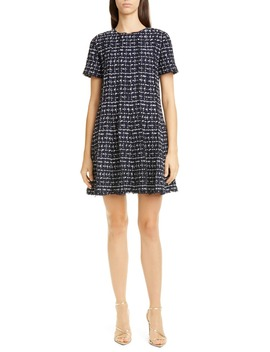 Tweed Trapeze Minidress by Oscar De La Renta