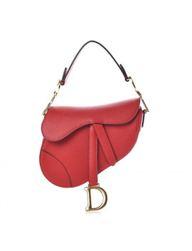 Christian Dior Grained Calfskin Mini Saddle Bag Red by Christian Dior