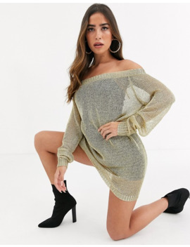Missguided Bardot Knitted Dress In Gold by Missguided's
