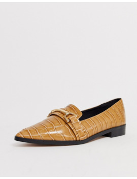Asos Design Master Snaffle Pointed Flat Shoes In Tan by Asos Design