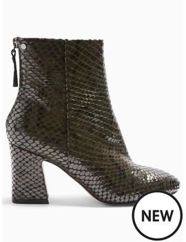 Topshop Wide Fit Belize Block Heel Smart Boots   Khaki by Topshop