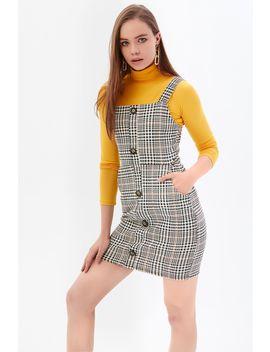 Latte Button Through Check Print Pinny Dress by Select