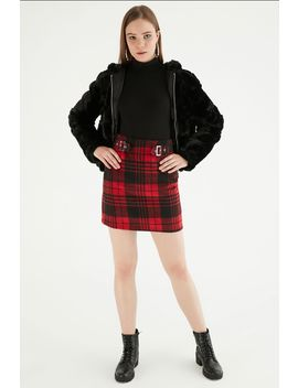 Red Double Buckle Brushed Mini Skirt by Select