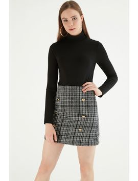 Mono Gold Button Boucle Mini Skirt by Select
