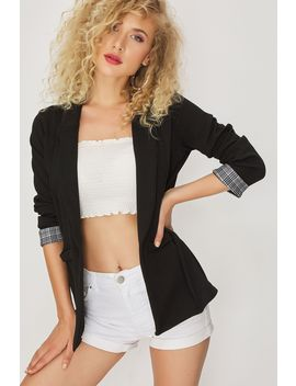 Black Check Cuff Textured Jacket by Select