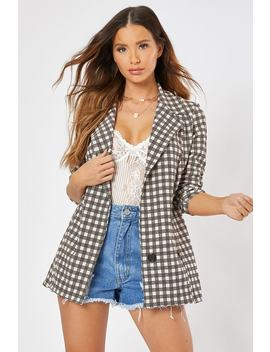 Brown Check Boyfriend Blazer by In The Style