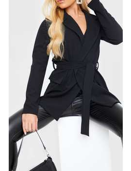 Black Belted Jersey Crepe Blazer by In The Style
