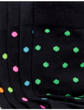 Asos Design 5 Pack Neon Polka Dot Ankle Sock Save by Asos Design