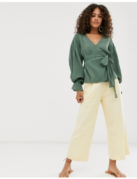 Asos Design Tall Long Sleeve Wrap Top In Textured Crinkle by Asos Design