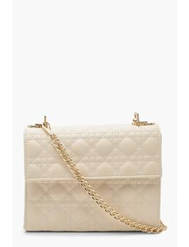 Geo Quilted Cross Body Bag & Chain by Boohoo