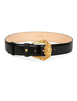 Barocco Buckle Leather Belt by Versace