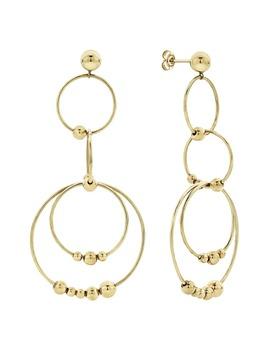 Caviar Gold Long Drop Earrings by Lagos