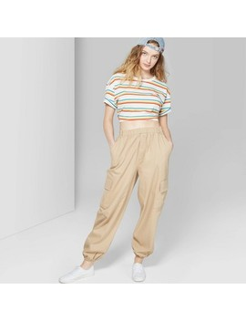 Women's High Rise Baggy Cargo Pants   Wild Fable™ Khaki by Wild Fable