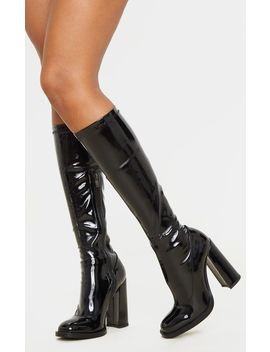 Black Knee High Block Heel Sock Boot  by Prettylittlething