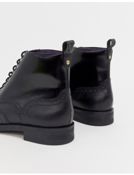 Ted Baker Twrehs Brogue Boots In Black Hi Shine by Ted Baker
