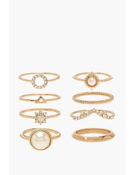 Pearl & Diamante Simple Ring Pack by Boohoo