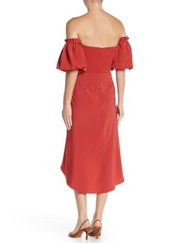 High/Low Off The Shoulder Dress by Topshop